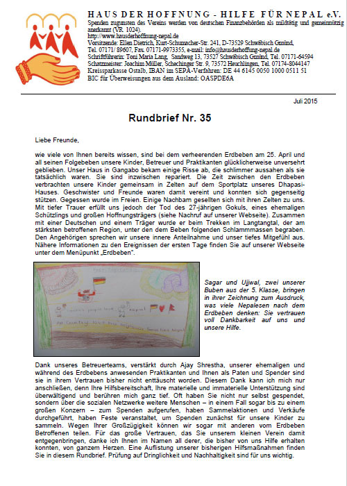 Rundbrief 35 - Juli 2015
