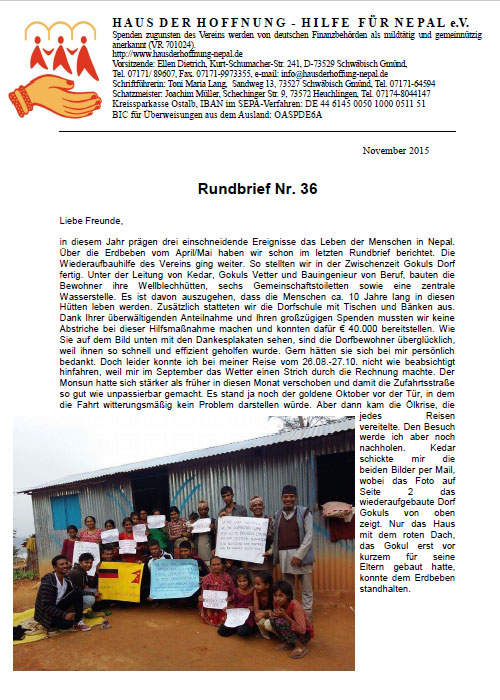 Rundbrief 36 - Nov 2015